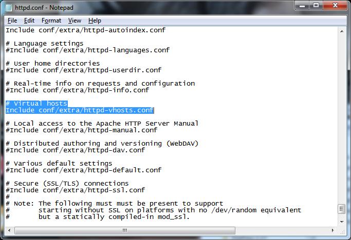 WAMP - edit httpd.conf