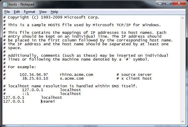 Edit Windows hosts file