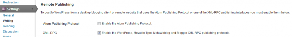 Setting in WordPress dashboard that needs updating