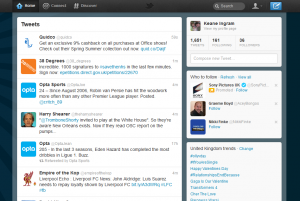 The new Twitter homepage with the Greasemonkey script installed